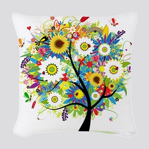 Trees5 [Converted] Woven Throw Pillow